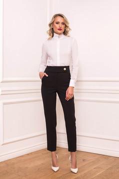 Fekete elegáns hosszú kónikus zsebes nadrág enyhén rugalmas anyagból