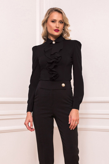 Fekete elegáns rövid fodros szűk szabású női ing hosszú ujjakkal