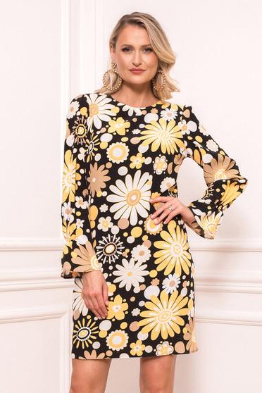Fekete virágmintás elegáns rövid egyenes zsebes ruha béléssel