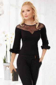 Fekete elegáns rövid pamutból készült szűk szabású női ing 3D virágokkal