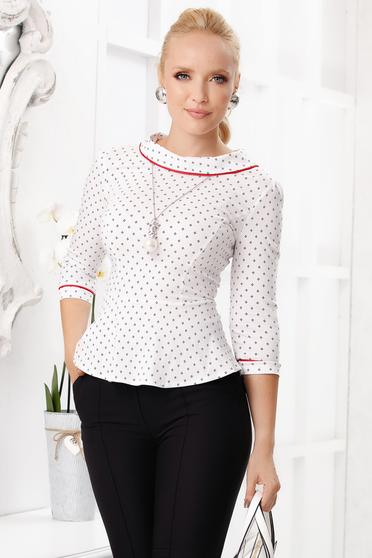 Piros pöttyös elegáns rövid szűk szabású női ing pamutból peplummal