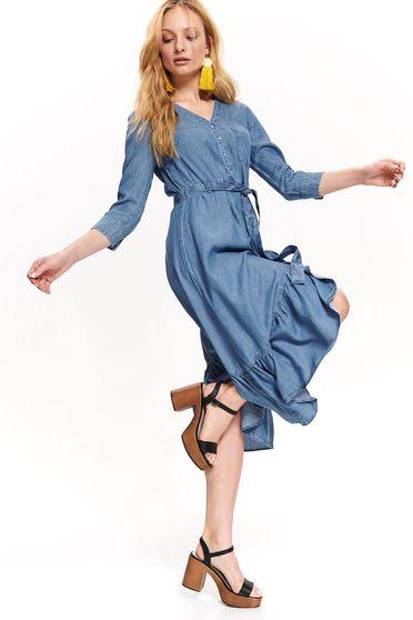 Kék casual midi ruha v-dekoltázzsal eltávolítható övvel farmerből