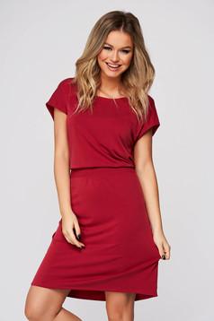 Piros ruha hétköznapi rövid egyenes kivágott hátrésszel