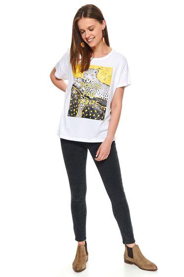 Fehér casual rövid bő szabású pamutból készült póló grafikai díszítéssel kerekített dekoltázssal
