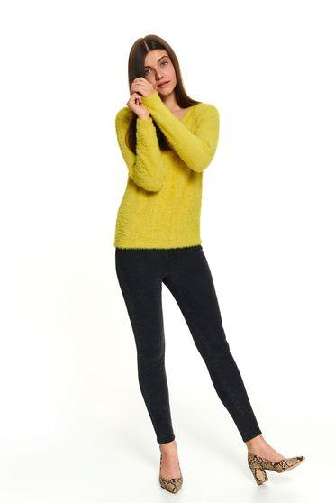 Sárga casual rövid pulóver hosszú ujjakkal kerekített dekoltázssal