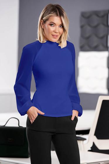 Kék StarShinerS elegáns női blúz rugalmas anyagból hosszú ujjakkal