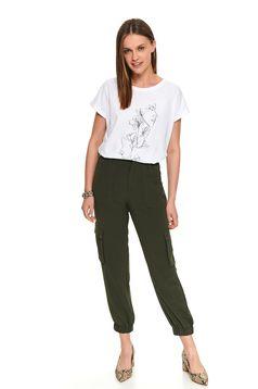 Zöld casual magas derekú zsebes hosszú nadrág