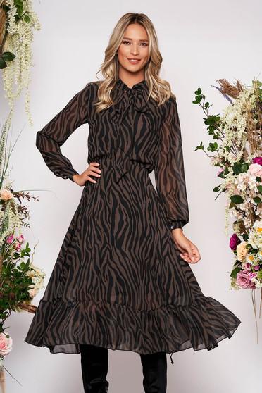 Fekete StarShinerS ruha elegáns midi harang béléssel gumírozott derekú szellős anyagból hosszú ujjakkal