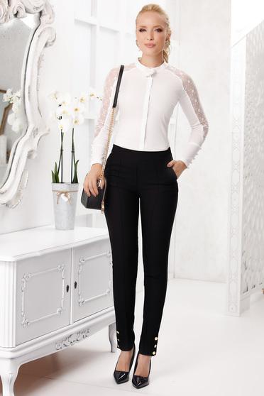 Fekete elegáns hosszú kónikus zsebes élére vasalt nadrág