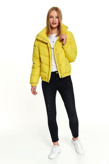 Sárga casual zsebes rövid dzseki magas gallérral és hosszú ujjakkal