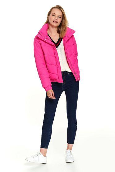 Pink casual rövid zsebes dzseki magas gallérral és hosszú ujjakkal