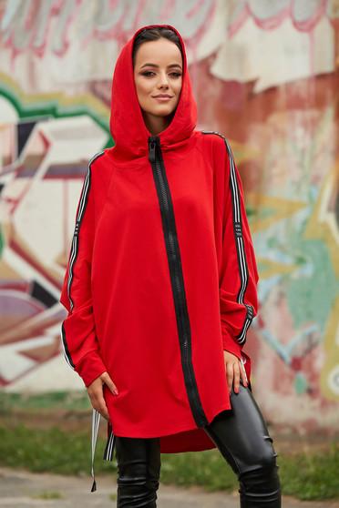 Piros casual pamutból készült cipzárral zárható fix kapucnis hanorák