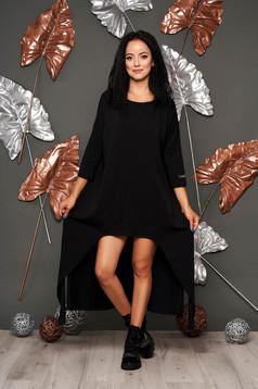 Fekete casual hosszú pamutból készült bő szabású ruha hosszú ujjakkal pólónyakkal