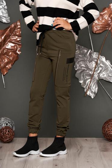 Kaki casual magas derekú hosszú derékban rugalmas pamutból készült nadrág