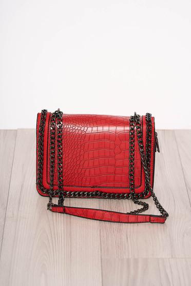 Piros elegáns kígyómintás táska műbőrből cipzárral