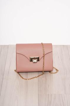 Púder rózsaszínű alkalmi műbőr táska eltávolítható vékony lánccal
