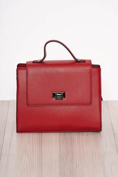 Piros elegáns műbőr táska rövid fül és hosszú lánc típusú pánt