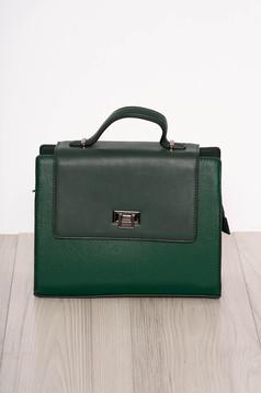 Zöld elegáns műbőr táska rövid fül és hosszú lánc típusú pánt