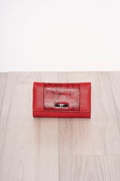 Piros több rekeszes kígyómintás pénztárca