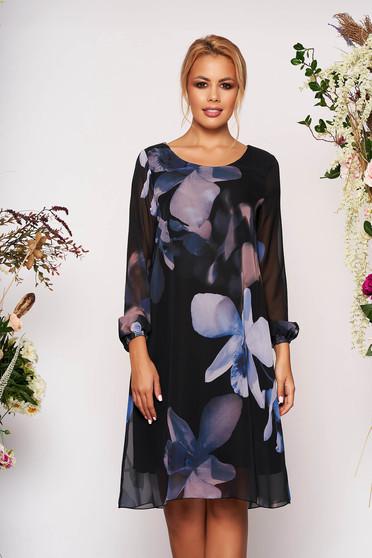 Kék elegáns rövid virágmintás ruha muszlinból muszlin hosszú ujjakkal és béléssel