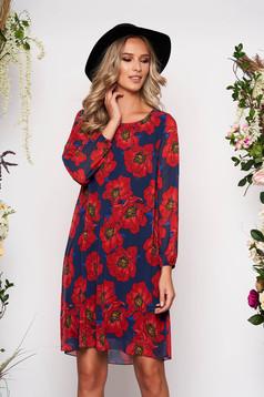 Piros rövid elegáns virágmintás a-vonalú ruha háromnegyedes ujjakkal pólónyakkal