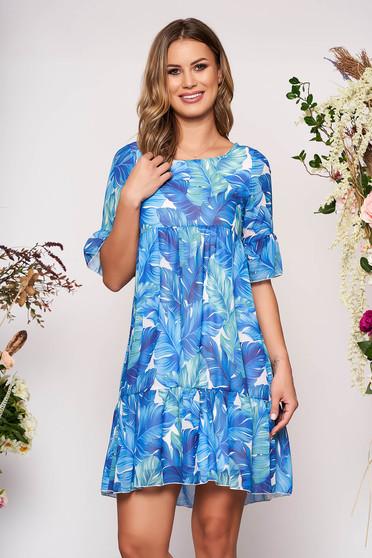 Kék rövid hétköznapi virágmintás rövid ujjú harang ruha harang ujjakkal muszlinból