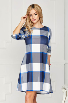 Kék casual hétköznapi rövid a-vonalú zsebes ruha háromnegyedes ujjakkal bélés nélkül