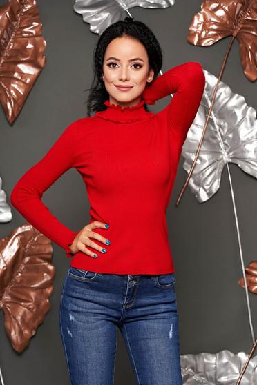 Piros casual magas nyakú szűk szabású kötött rövid női blúz fodros gallérral csíkozott anyagból