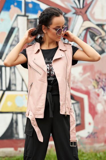 Púder rózsaszínű casual műbőr ujjatlan zsebes cipzárral zárható mellény