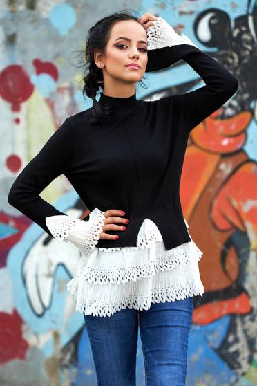 Fekete casual magas nyakú aszimetrikus pulóver hosszú ujjakkal vékony szövetből