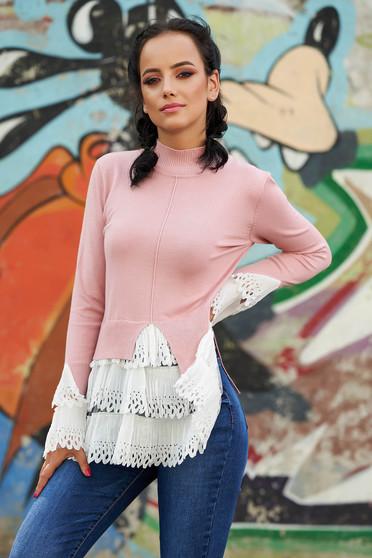 Pink casual magas nyakú aszimetrikus pulóver hosszú ujjakkal vékony szövetből