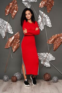 Piros casual kötött ceruza ruha kerekített dekoltázssal hosszú ujjakkal