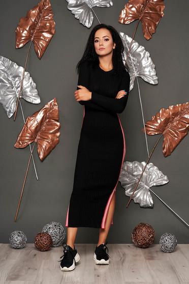 Fekete casual kötött ceruza ruha kerekített dekoltázssal hosszú ujjakkal