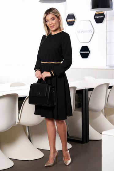 Fekete StarShinerS ruha elegáns midi harang gumírozott derekú bélés nélkül hosszú ujjakkal eltávolítható övvel