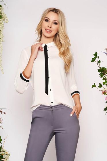 Fehér casual rövid bő szabású gombokkal zárható női ing szellős anyagból