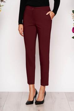 Burgundy elegáns zsebes kónikus hosszú nadrág szövetből