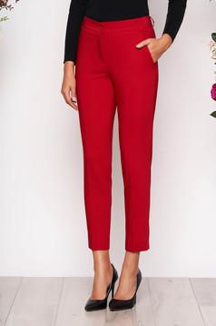 Piros elegáns zsebes kónikus hosszú nadrág szövetből