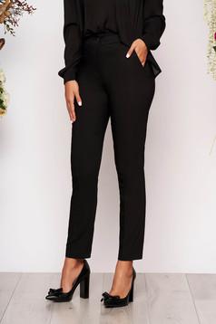 Fekete elegáns zsebes kónikus hosszú nadrág szövetből
