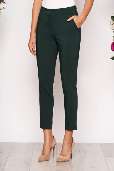 Sötétzöld elegáns zsebes kónikus hosszú nadrág szövetből