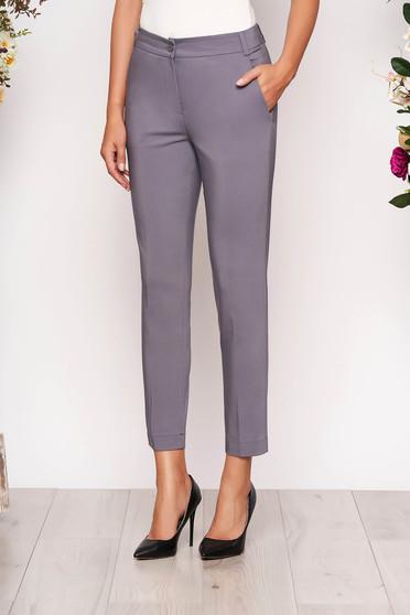 Szürke elegáns zsebes kónikus hosszú nadrág szövetből