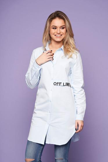 Világoskék casual bő szabású hímzett asszimmetrikus női ing hosszú ujjakkal