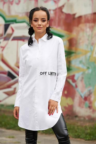 Fehér casual bő szabású hímzett asszimmetrikus női ing hosszú ujjakkal