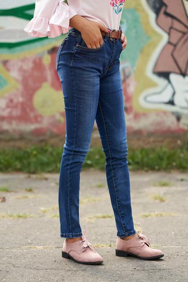 Kék casual klasszikus farmer szintetikus bőr övvel