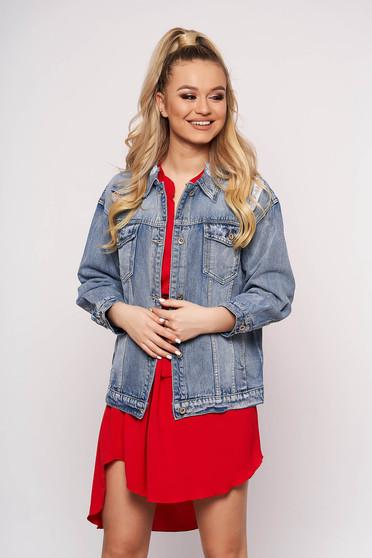 Kék casual rövid zsebes kapcsokkal zárható bő szabású dzseki