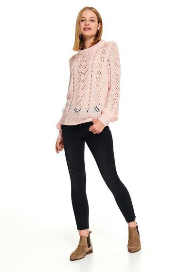 Pink casual rövid bő szabású pulóver kerekített dekoltázssal kötött anyagból