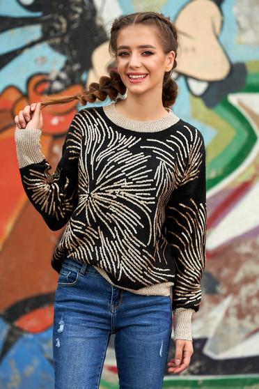 Fekete pulóver casual rövid bő szabású kötött flitteres díszítéssel pólónyakkal