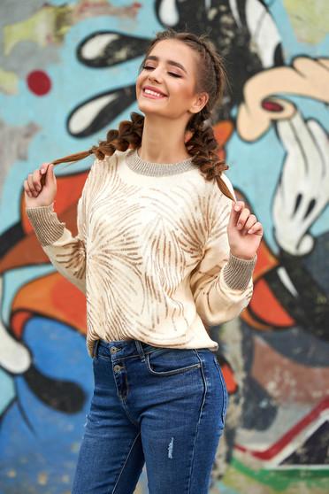 Krémszínű pulóver casual rövid bő szabású kötött flitteres díszítéssel pólónyakkal