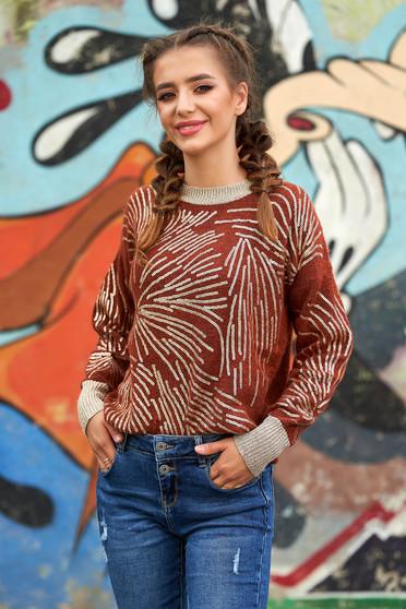 Téglaszínű pulóver casual rövid bő szabású kötött flitteres díszítéssel pólónyakkal