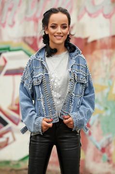 Kék rövid casual elöl zsebes bő szabású szegecses dzseki farmerből