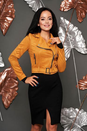 Mustársárga műbőr casual fém csattal díszített rövid zsebes dzseki